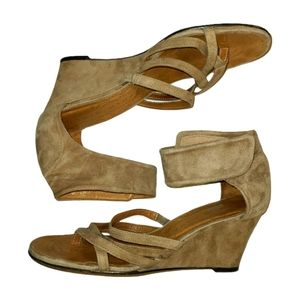 Chie Mihara Suede Ankle Strap Wedge Sandals   39